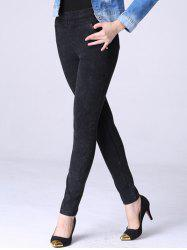 Elastic Waist Fleece Denim Pencil Pants