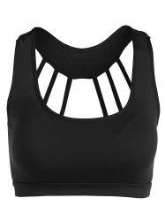 Scoop Neck Back Strappy Padded Yoga Top - BLACK