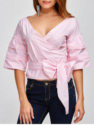 V Neck Layered Sleeve Wrap Blouse