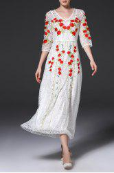 V Neck Embroidered Lace Maxi Evening Dress -