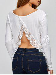 Back Cutout Long Sleeve Lace Spliced T-Shirt - WHITE 2XL