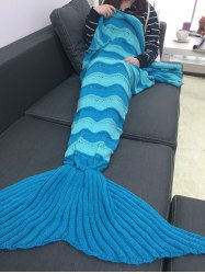 Thicken Stripe Knitted Wrap Mermaid Tail Blanket -