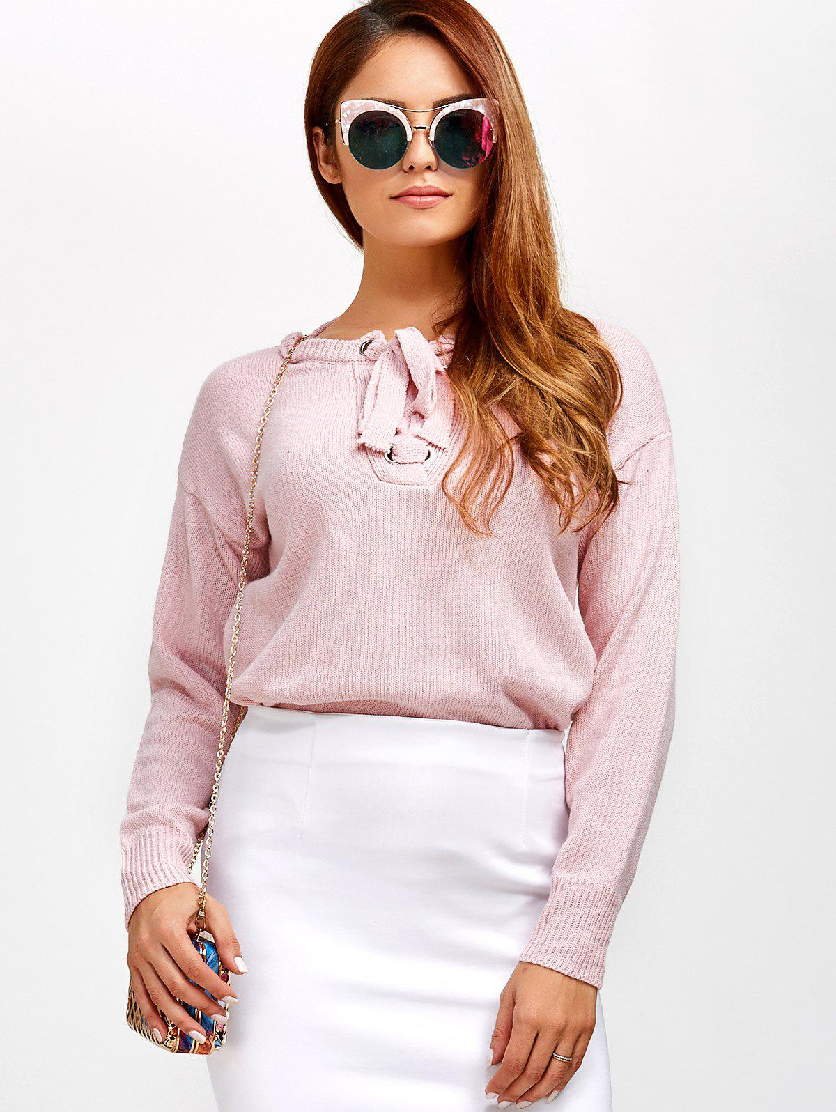 Discount Lace-Up Loose Casual Sweater