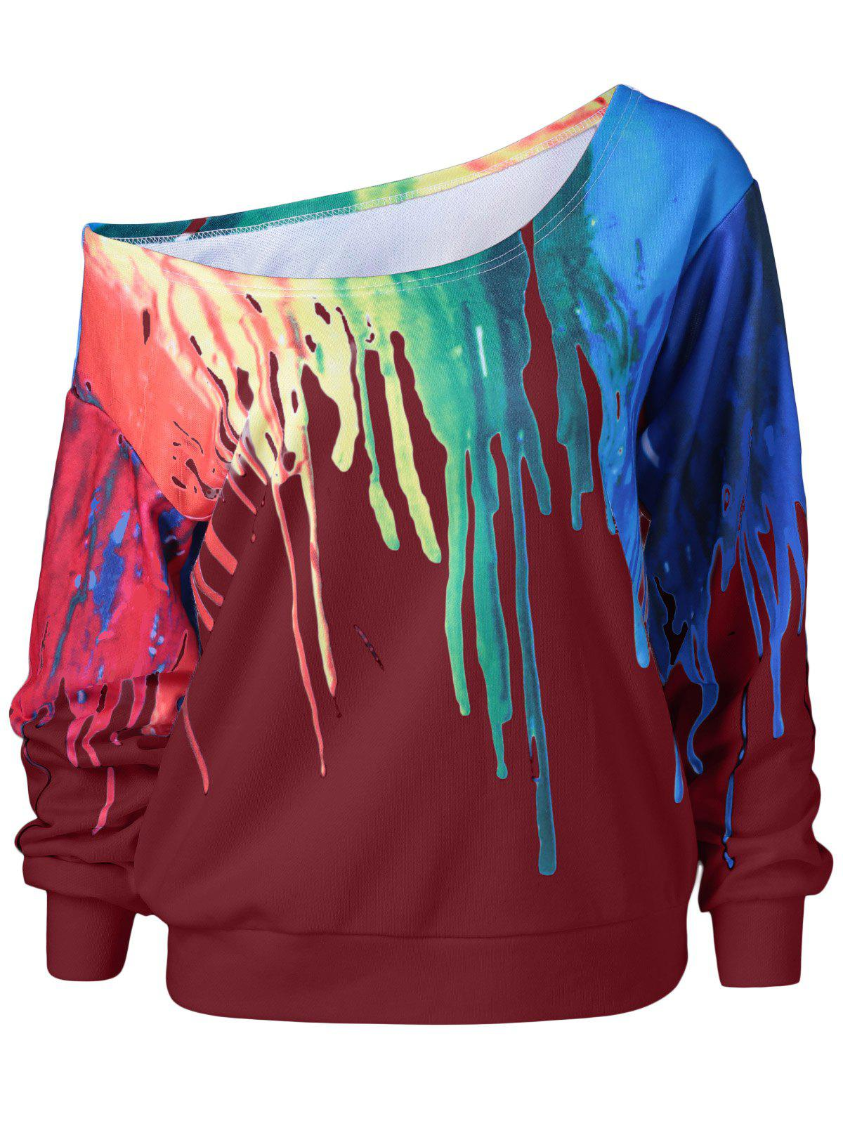 Shops Paint Drip Skew Collar Sweatshirt