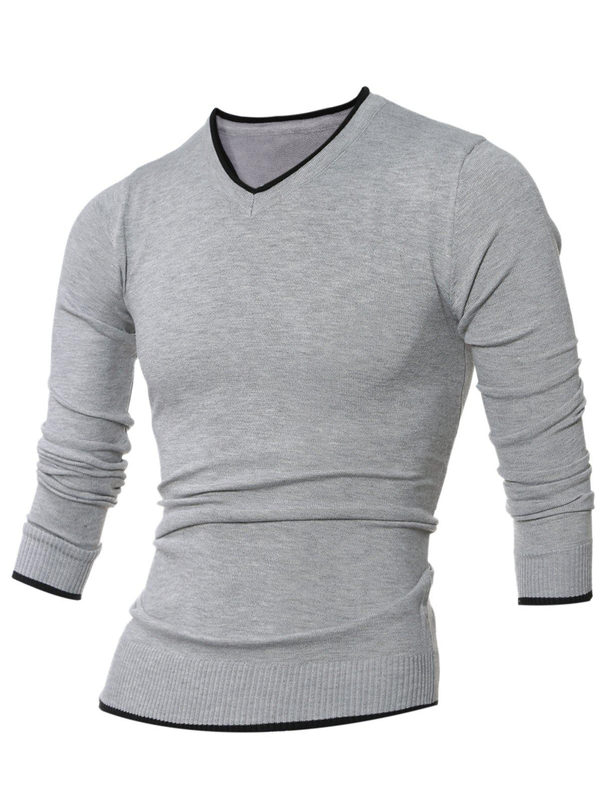 Sale V Neck Selvedge Embellished Knitting Sweater