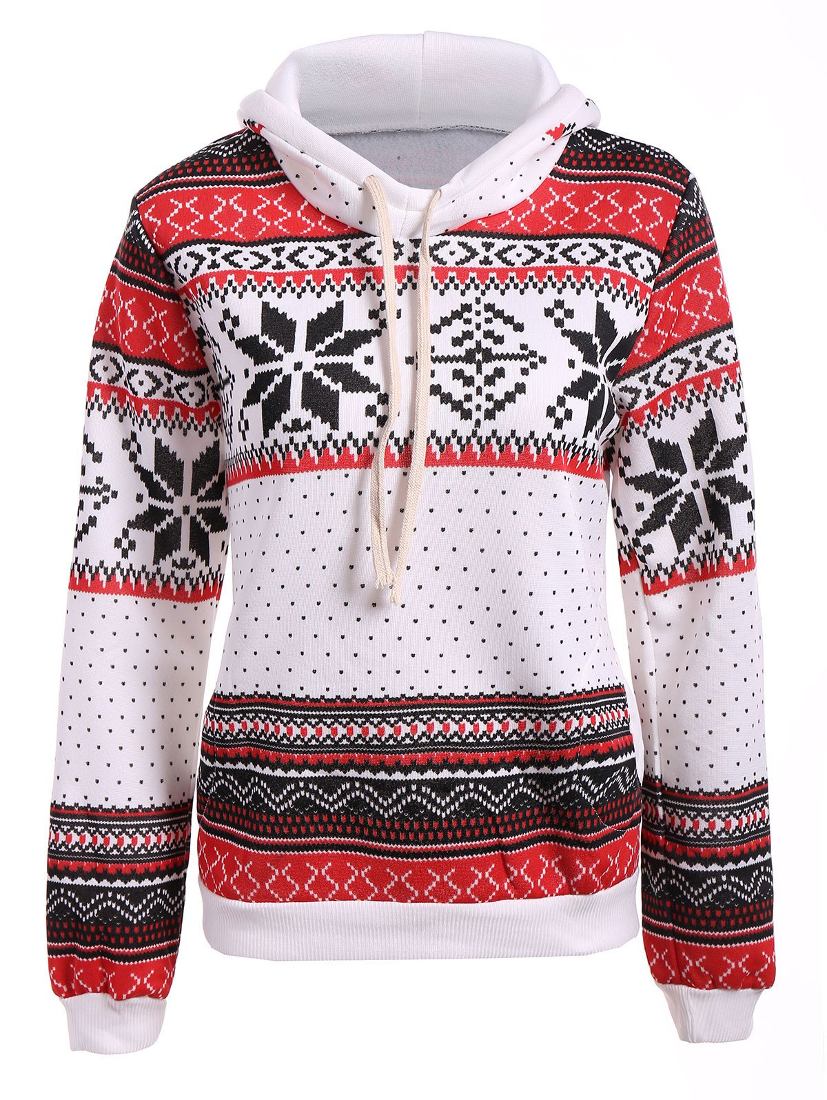 Polka Dot Christmas Snowflake Pullover HoodieWOMEN<br><br>Size: XL; Color: RED AND WHITE; Material: Polyester; Shirt Length: Regular; Sleeve Length: Full; Style: Casual; Pattern Style: Polka Dot; Season: Fall,Spring; Weight: 0.350kg; Package Contents: 1 x Hoodie;