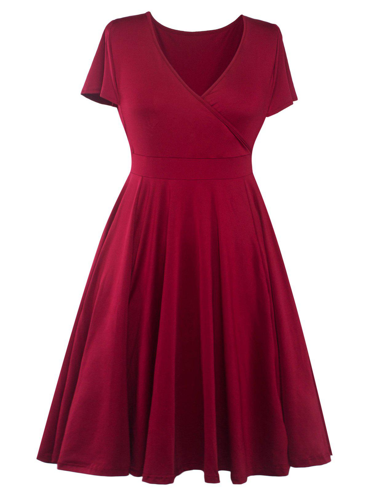 Plus Size Surplice Casual Midi A Line Dress With Short SleeveWOMEN<br><br>Size: 5XL; Color: WINE RED; Style: Casual; Material: Polyester; Silhouette: A-Line; Dresses Length: Mid-Calf; Neckline: V-Neck; Sleeve Length: Short Sleeves; Pattern Type: Solid; With Belt: No; Season: Summer; Weight: 0.420kg; Package Contents: 1 x Dress;