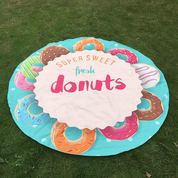 Store Merry Delicious Donuts Print Round Beach Throw