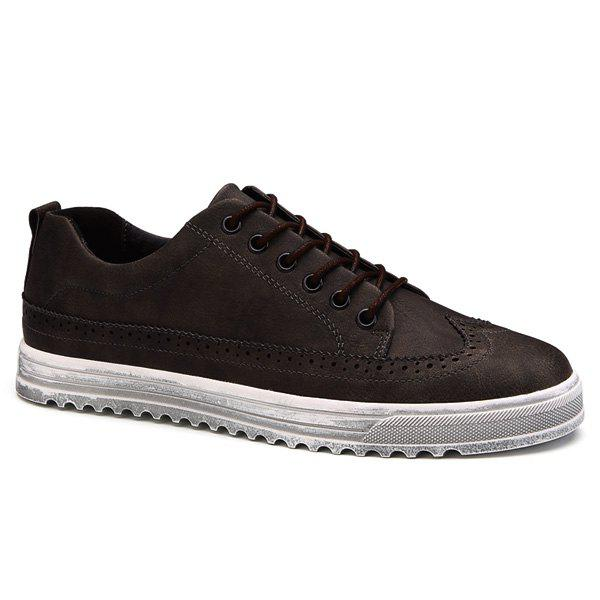 Cheap Vintage Engraving and Lace-Up Design Casual Shoes For Men