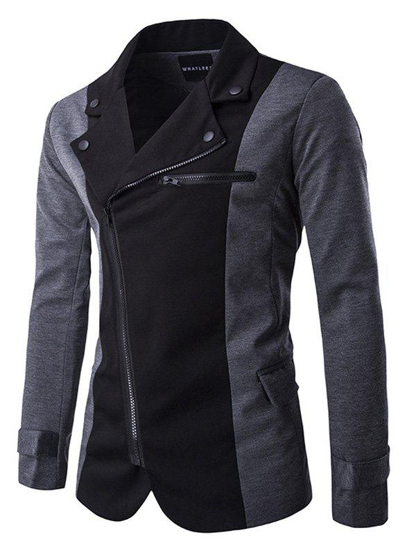 Col rabattu Zipper design Color Block Jacket épissage Noir M