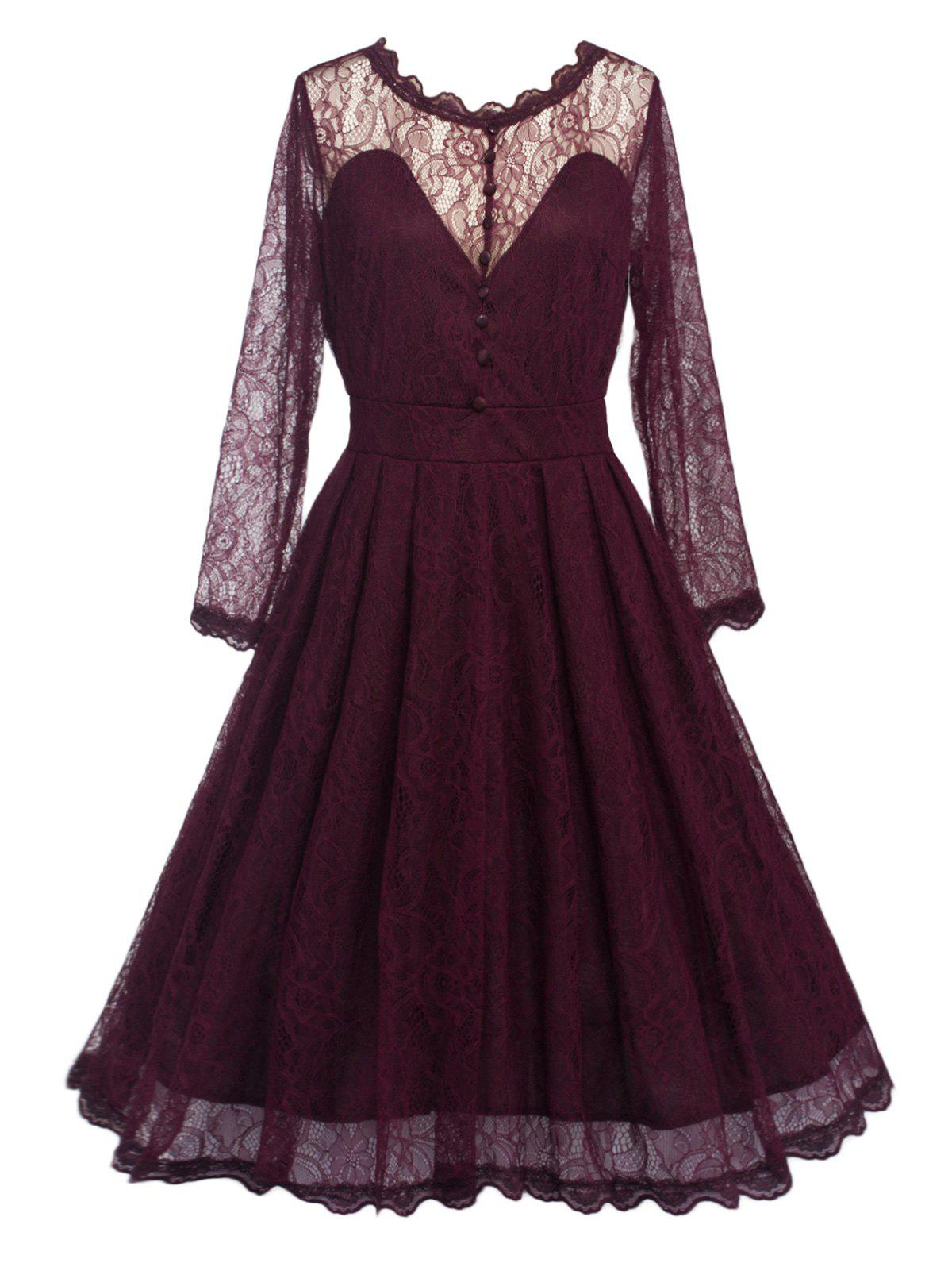 Sale Swing Lace Full Sleeve Skater Homecoming Formal Dress with Sleeves