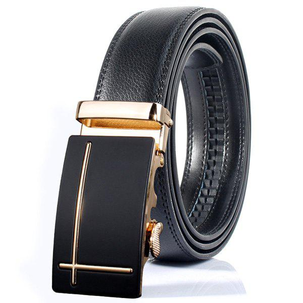 Trendy Polished Perpendicular Line Automatic Buckle Wide Formal Belt