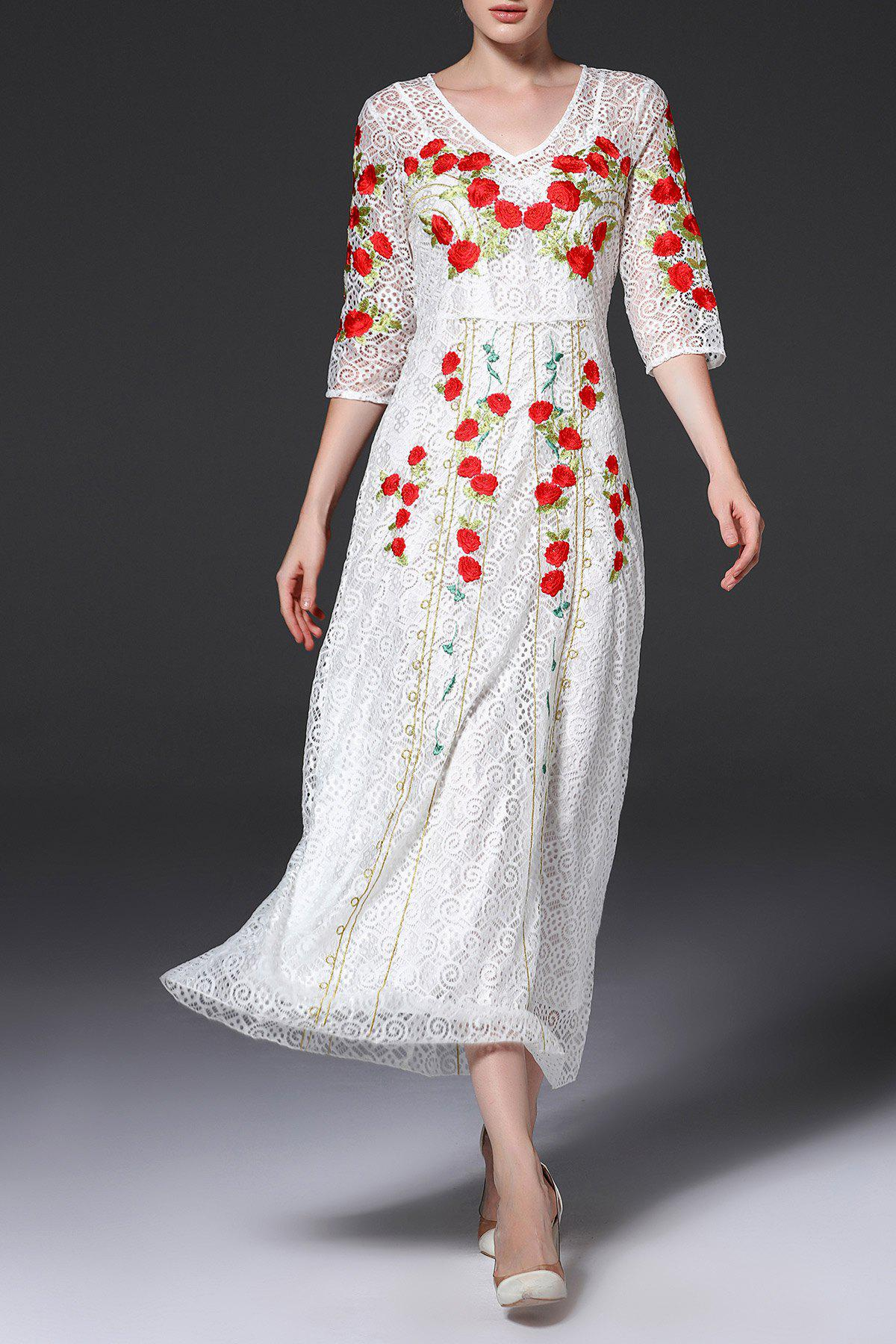 Affordable V Neck Embroidered Lace Maxi Evening Dress