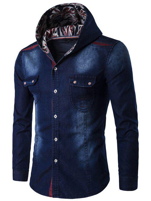 Hooded Color Block Spliced Long Sleeve Denim ShirtMEN<br><br>Size: L; Color: DEEP BLUE; Shirts Type: Casual Shirts; Material: Cotton,Jeans; Sleeve Length: Full; Collar: Hooded; Weight: 0.342kg; Package Contents: 1 x Shirt;