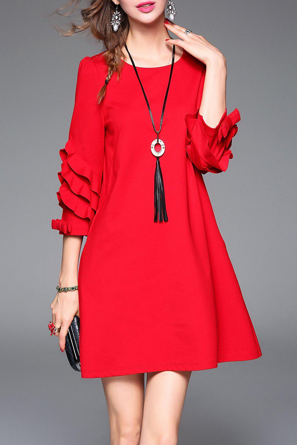 Latest Ruffles Mini A Line Dress with Necklace