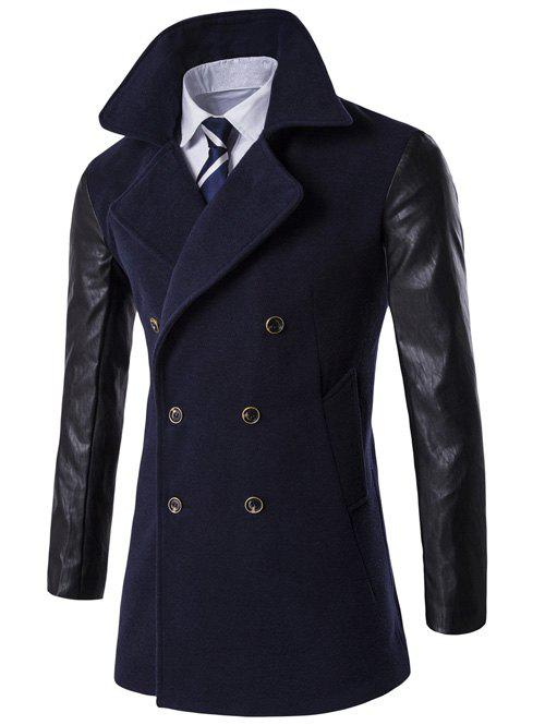 Shops Turndown Collar Double Breasted PU-Leather Spliced Coat