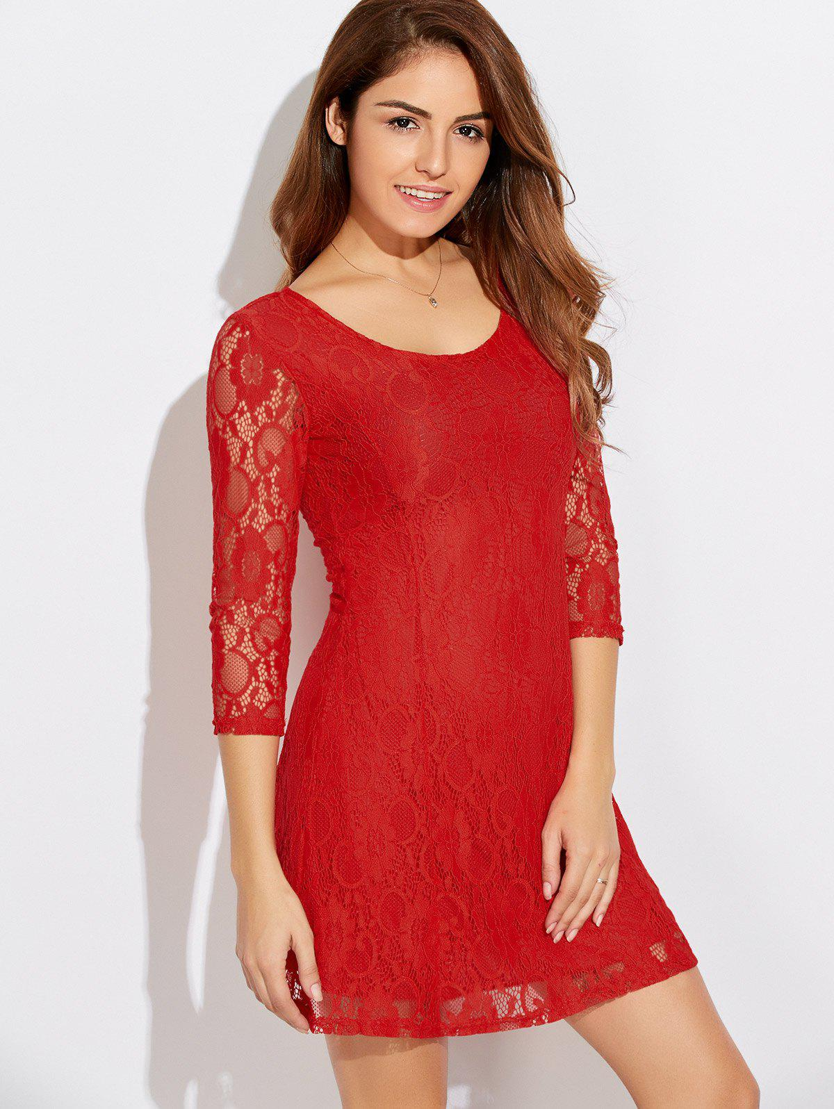 Affordable Scoop Neck Three Quarter Sleeve Lace Dress