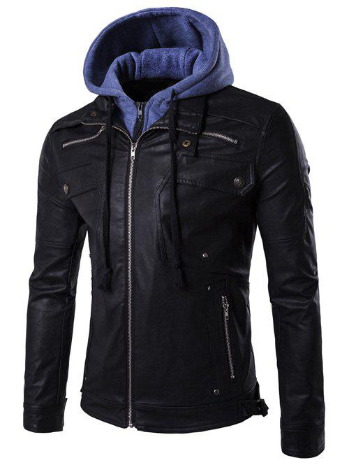 New Faux Twinset Hooded Zipper Design PU Leather Jacket