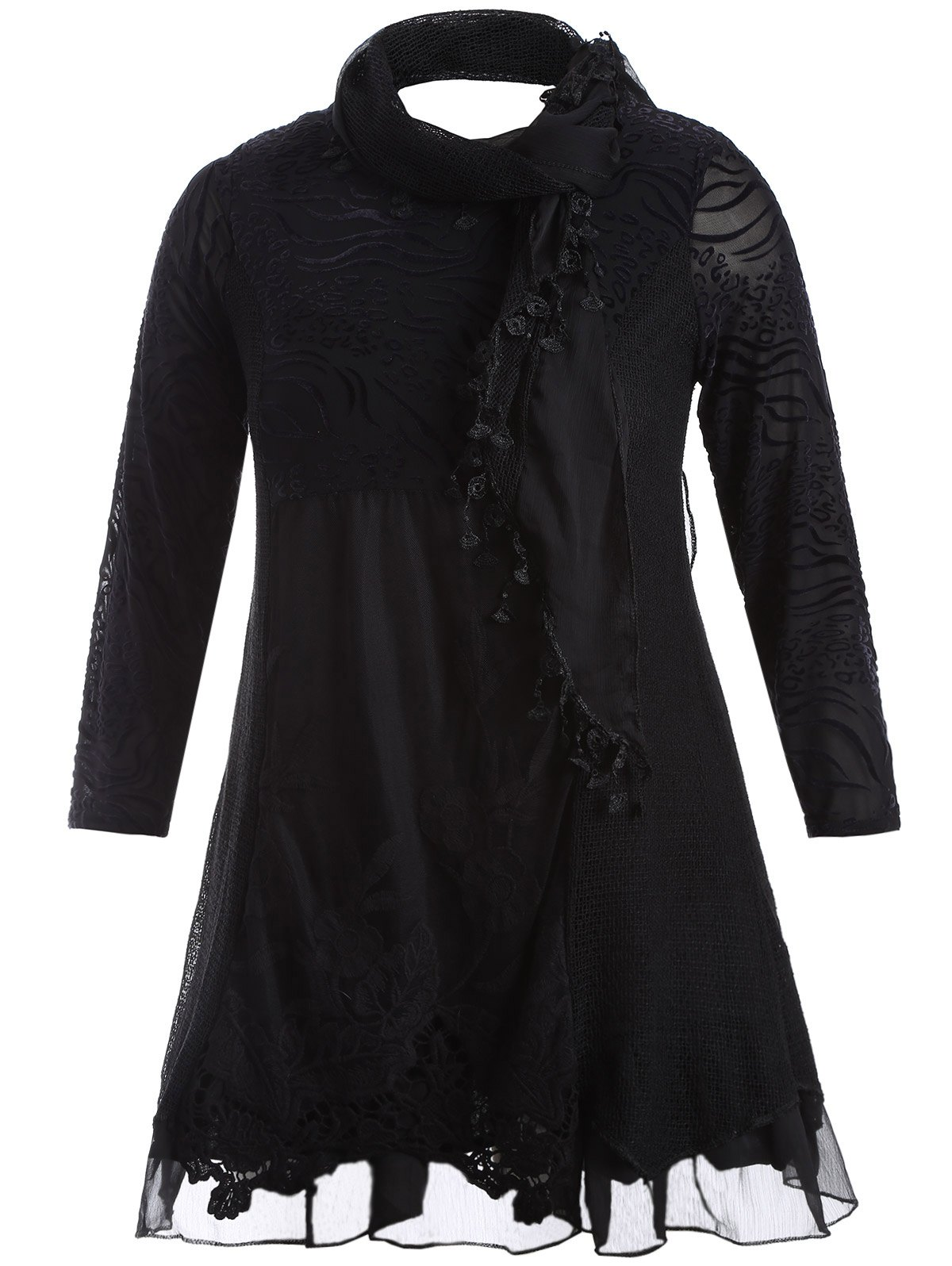 Discount Scarf Lace Splicing Plus Size Dress