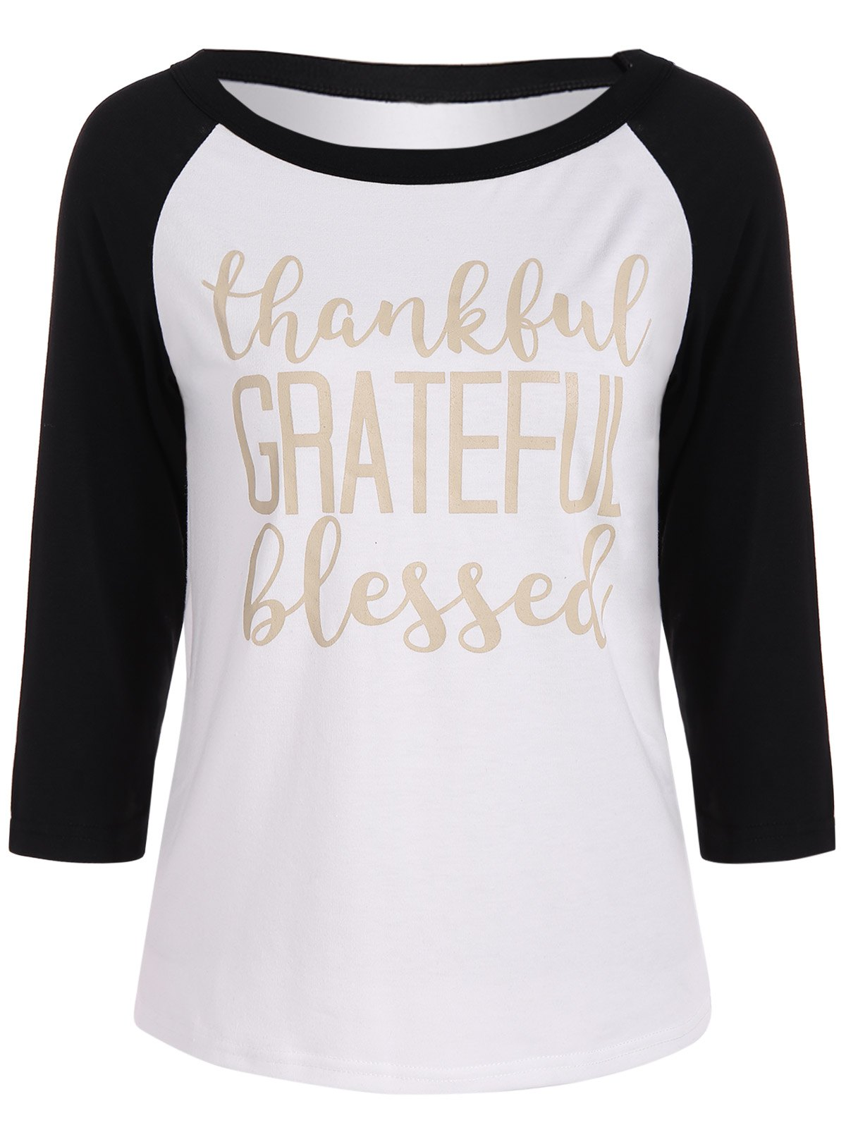 Thankful Print Raglan Sleeve Baseball Tee Shirts Funny Graphic TeesWOMEN<br><br>Size: M; Color: WHITE AND BLACK; Material: Cotton,Polyester; Shirt Length: Regular; Sleeve Length: Three Quarter; Collar: Scoop Neck; Style: Fashion; Season: Fall,Spring; Embellishment: Spliced; Pattern Type: Letter; Weight: 0.270kg; Package Contents: 1 x Tee;