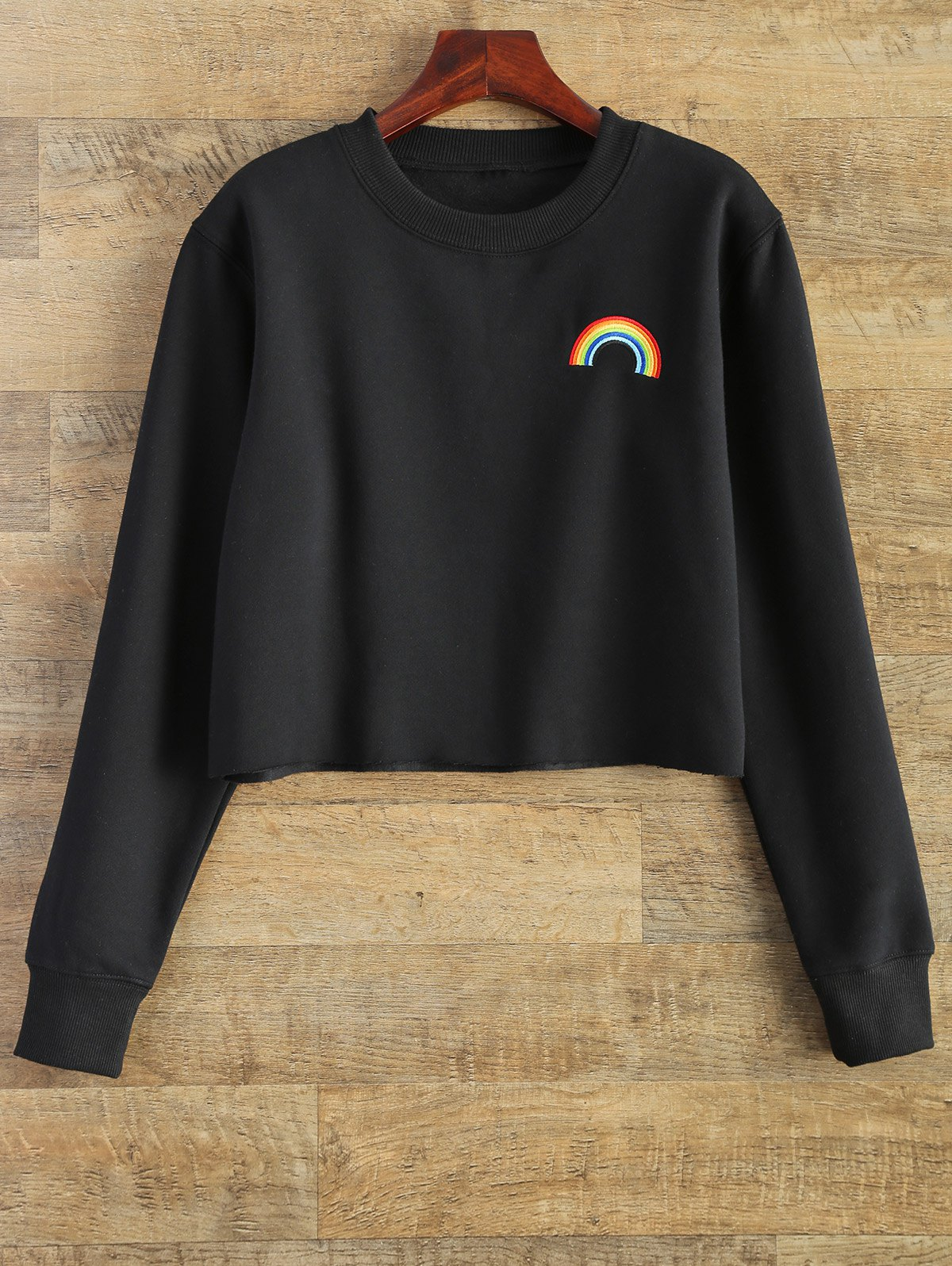 Black M Raw Edge Rainbow Cropped Sweatshirt Rosegal Com
