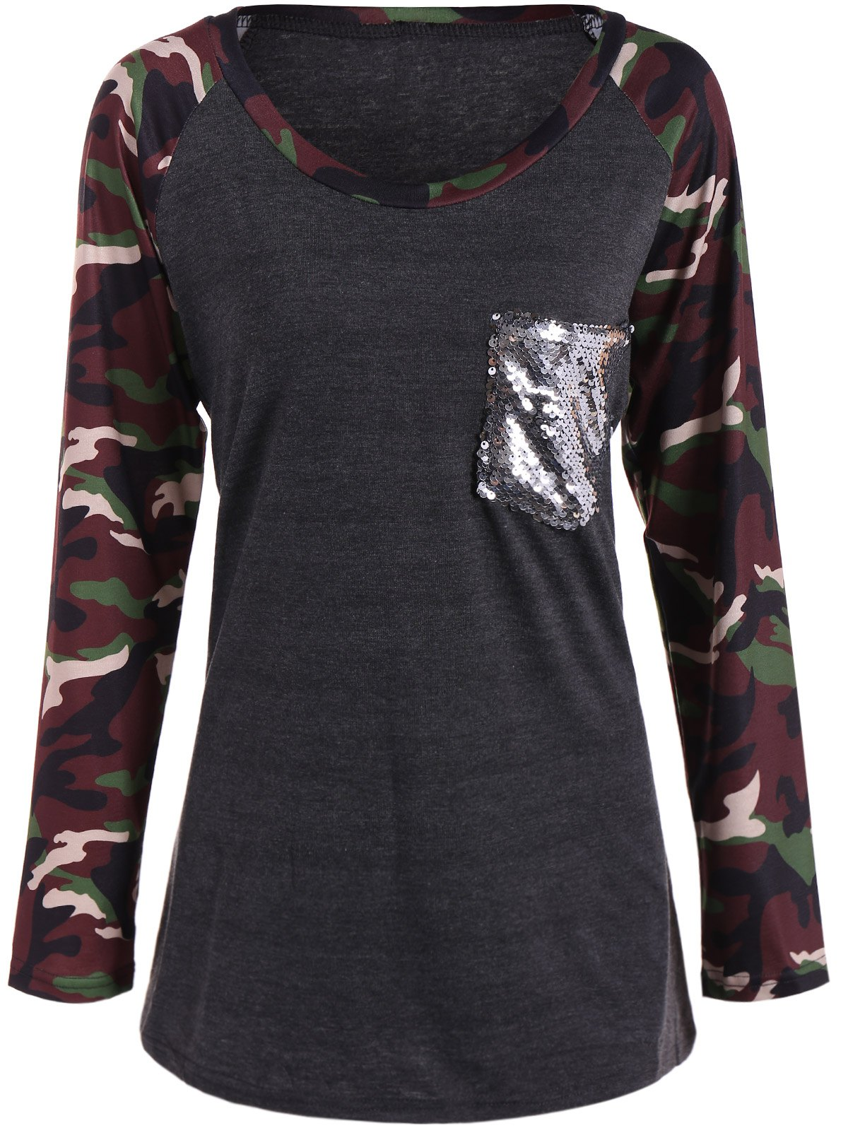 Store Camo Print Long Sleeve Sequined Pocket T-Shirt
