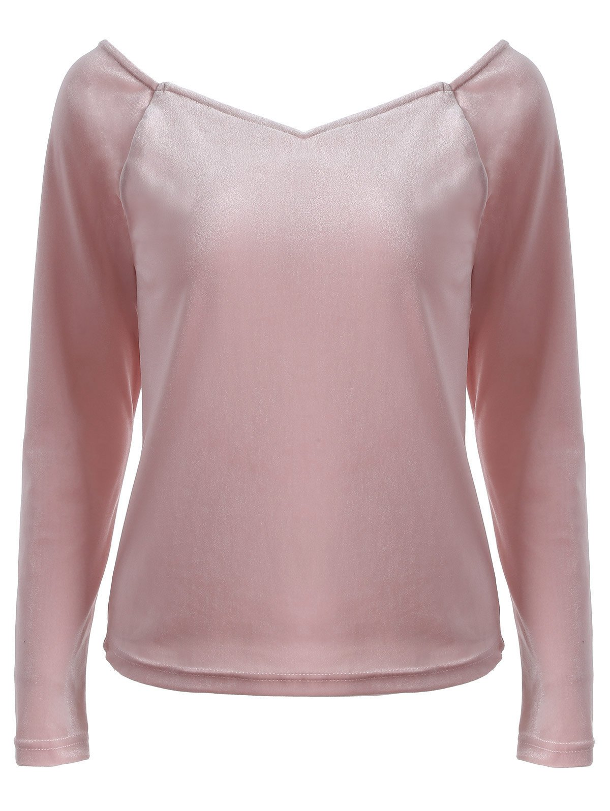 Cheap V Neck Long Sleeve Slimming T-Shirt