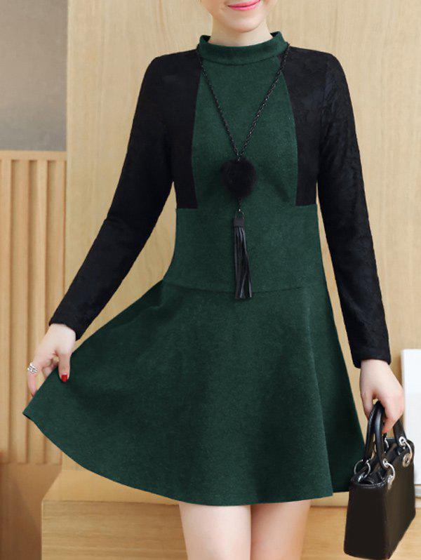 Sale Lace Insert Woolen Swing Dress