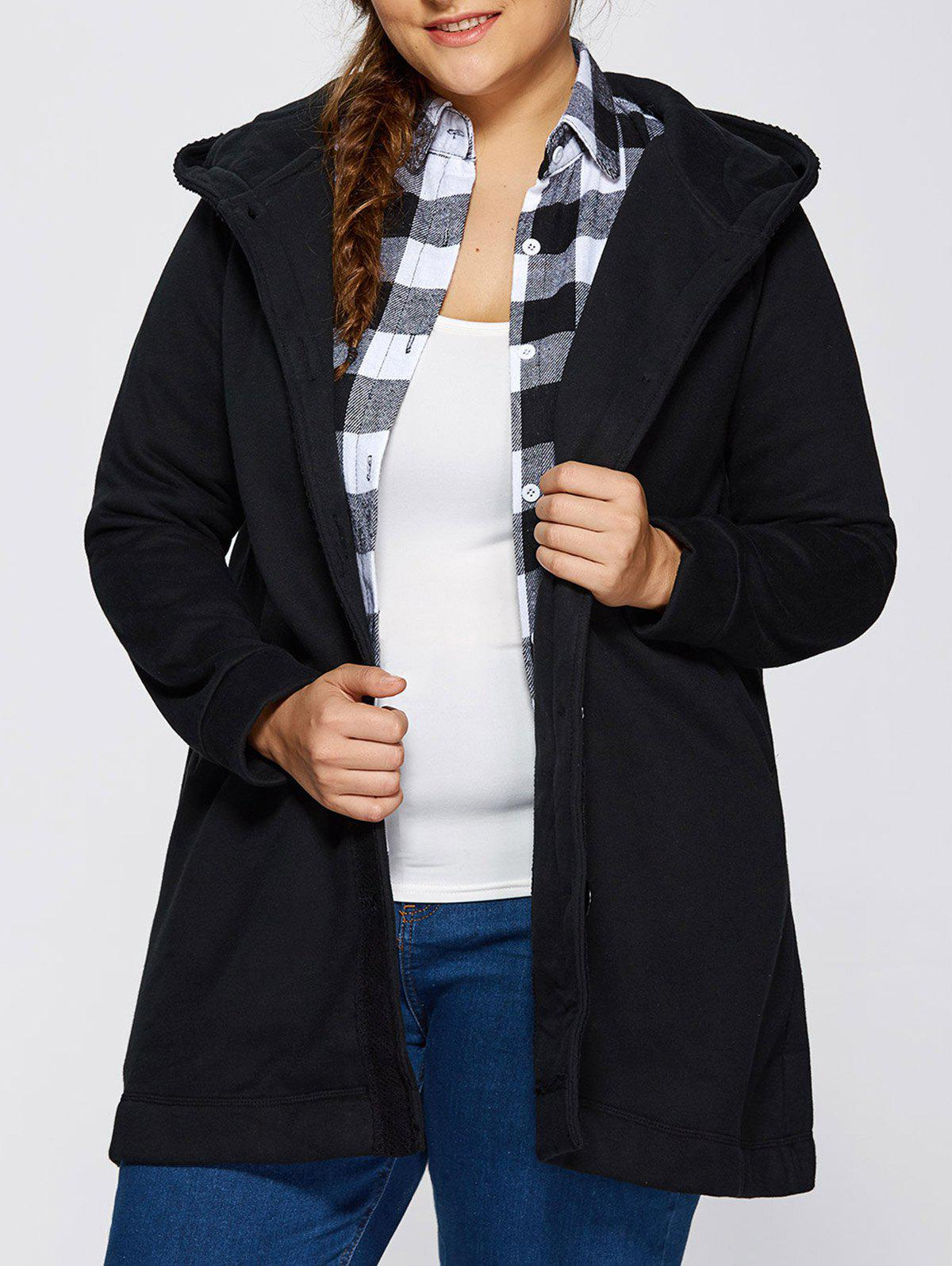 Shop Hooded Buttoned Back Bowknot Coat