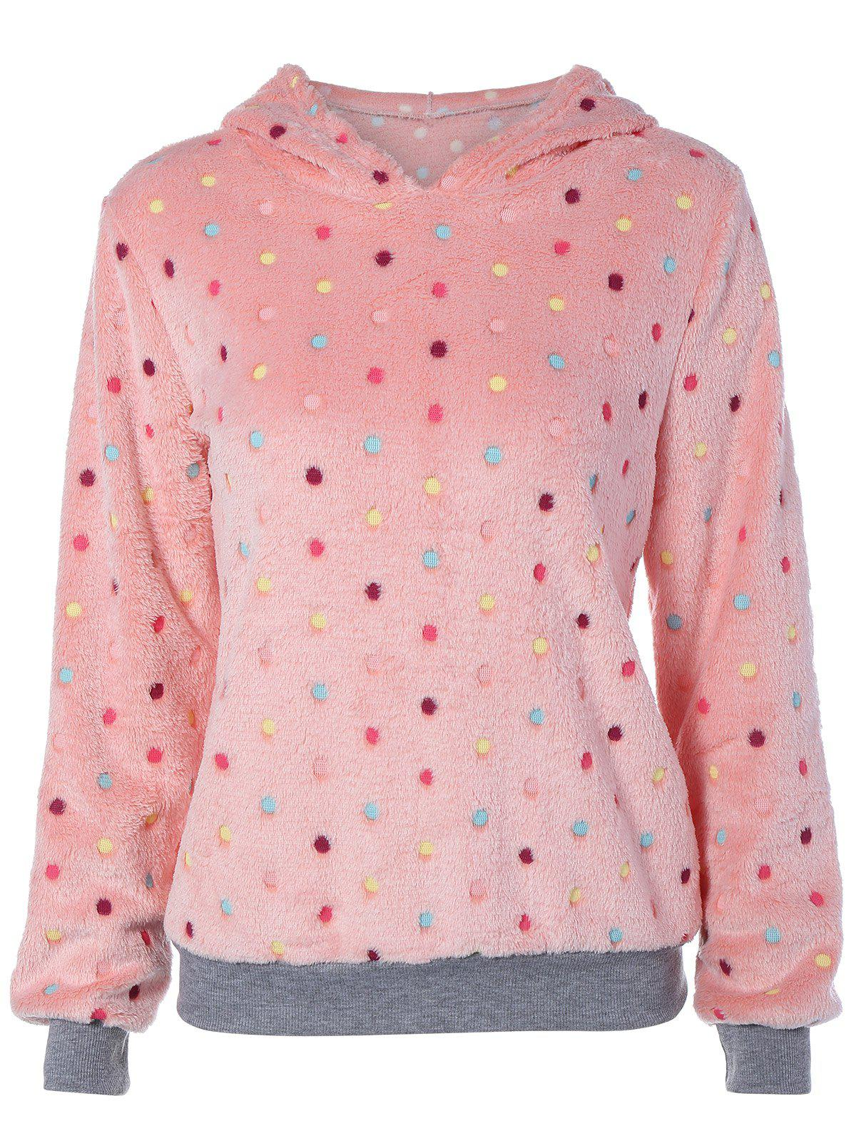 Shop Flocking Dot Pattern Pink Hoodie