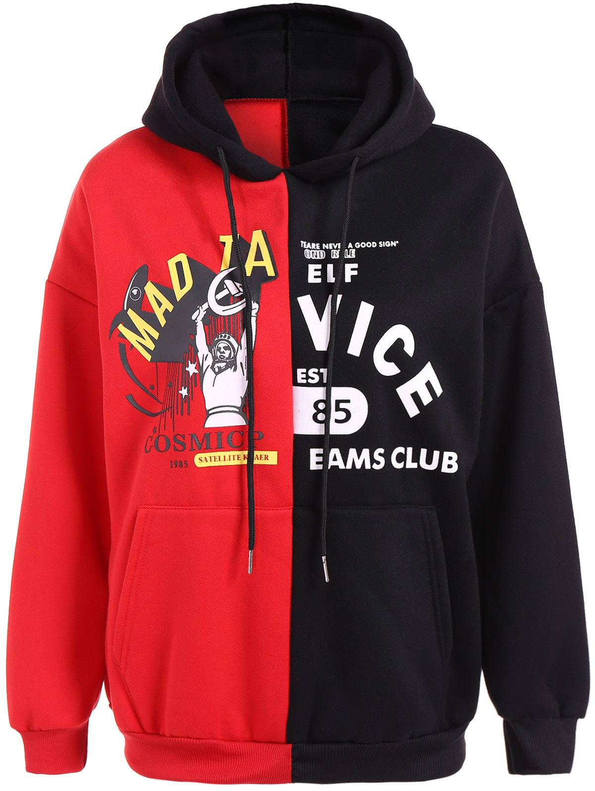 Latest Drawstring Letter Print Contrast Hoodie