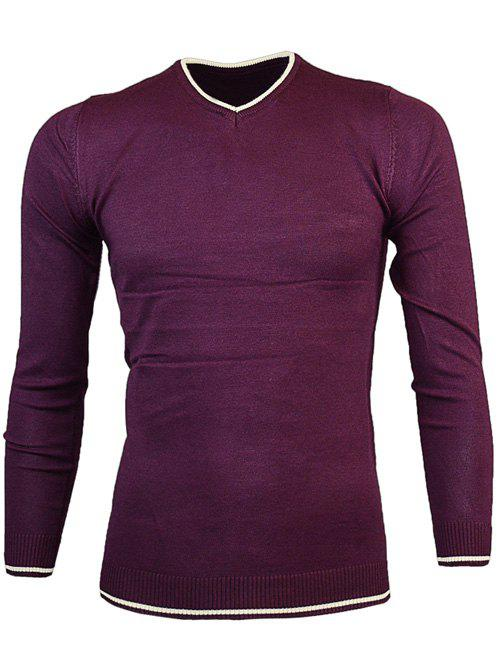 Fashion V Neck Color Block Pullover Knitwear