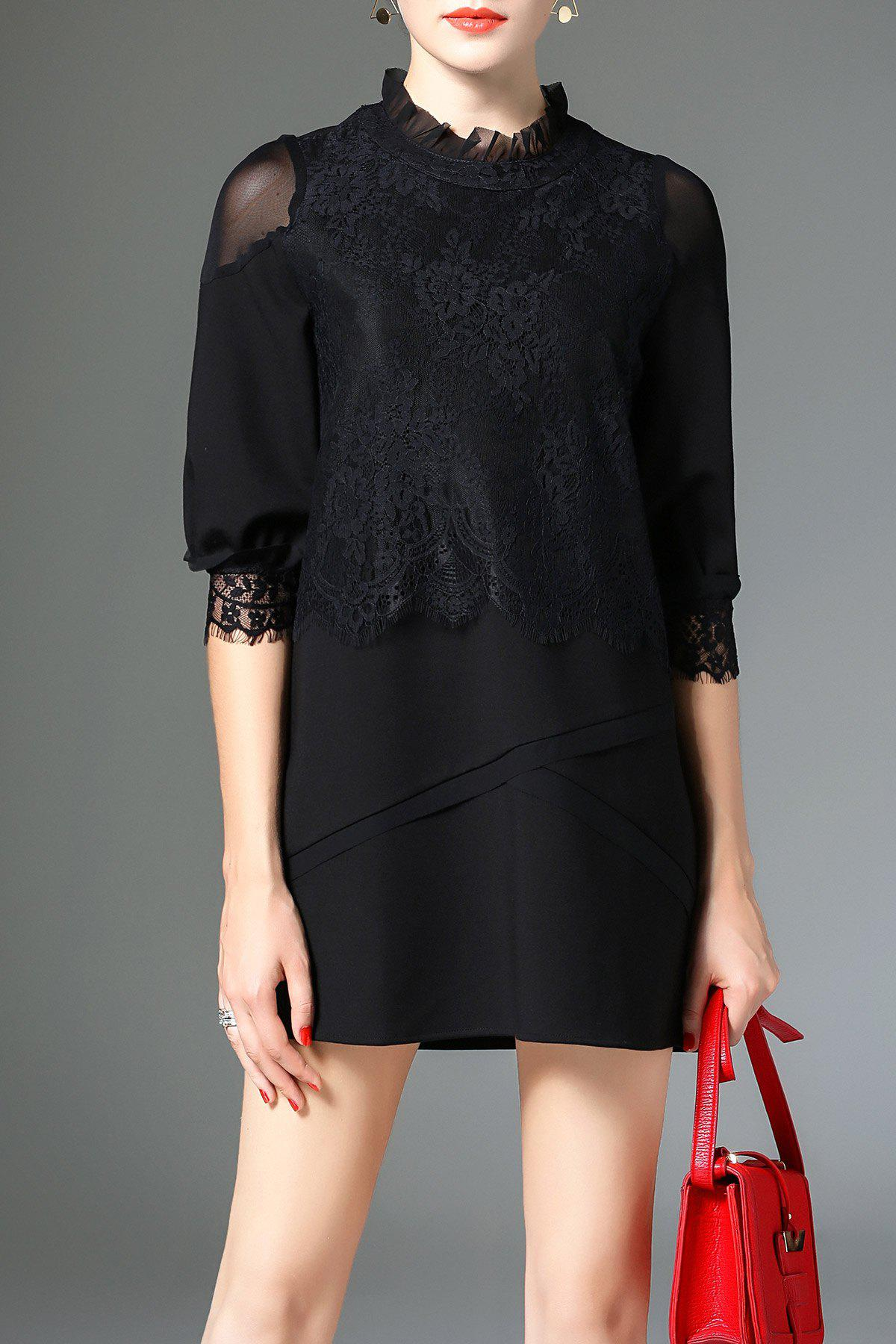 Buy Frilled Collar Lace Mesh Insert Mini Dress