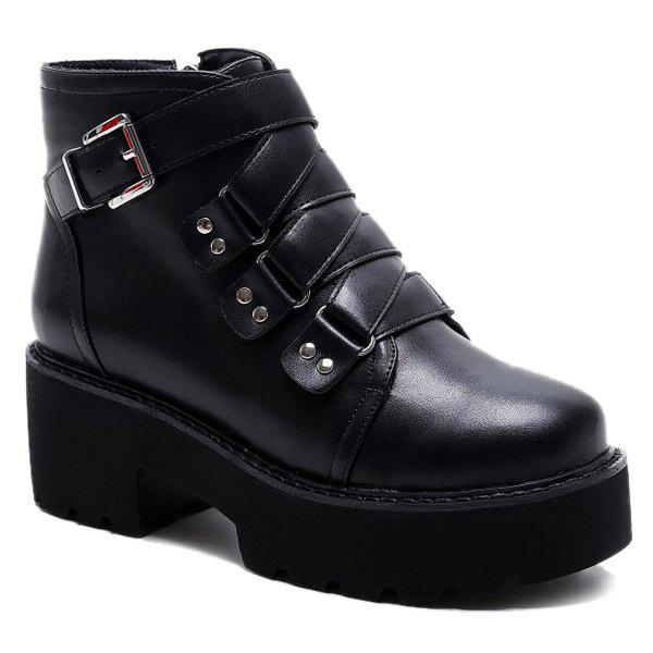 Cheap Cross Strap Platform Ankle Boots