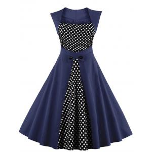 Polka Dot Semi Formal Midi Skater Dress - Purplish Blue - 3xl