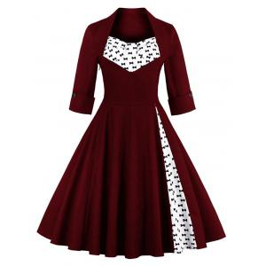 Bowknot Swing Dress Vintage Prom Dresses - Wine Red - S