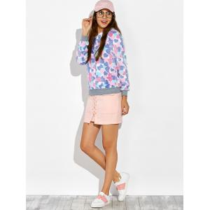 Heart Pattern Fleece Hoodie - COLORMIX XL