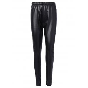Faux Leather Fleece Leggings - Black - L