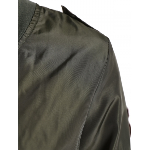 Zip Up Patched Bomber Jacket -