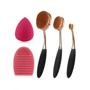 3 Pcs Oval Toothbrush Makeup Brushes Set + Teardrop Makeup Sponge + Brush Egg