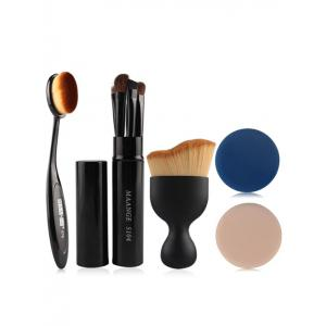 5 Pcs Eye Makeup Brushes Kit + Foundation Brush + Curved Blush Brush + Air Puffs