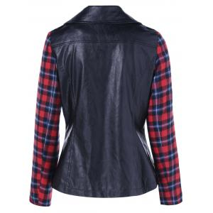 Plaid Sleeve Biker Jacket -