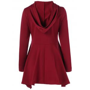 Witch Hat Print Asymmetrical Peplum Hoodie - RED WITH WHITE M
