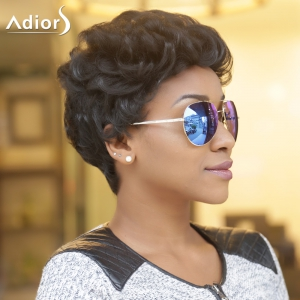 Adiors Short Fluffy Curly Synthetic Wig - BLACK