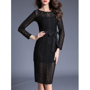 Long Sleeve Lace Bodycon Midi Dress - BLACK L