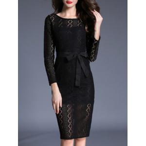 Long Sleeve Lace Bodycon Midi Dress