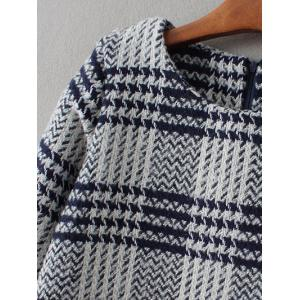 Bell Sleeve Checked Thick Shift Dress - GRAY L