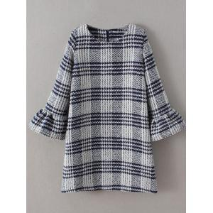 Bell Sleeve Checked Thick Shift Dress
