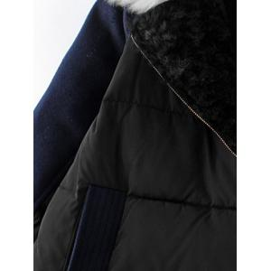 Take Off Faux Fur Collar Quilted Coat -