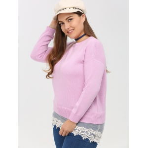 Crew Neck Lace Spliced Plus Size Sweater - PINK 5XL